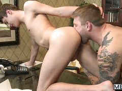 Hot interview scene with two sexy gay men