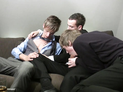 Handsome boys gobble the cock of a gay friend