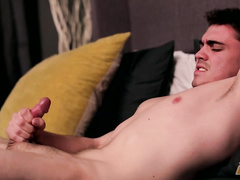 Naughty man spends his lonely night in masturbation