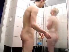 Bareback fucking action with blond boys in the bathroom