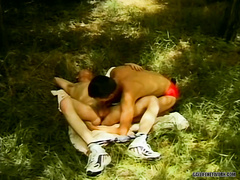 Outdoor action featuring smoking hot twinks in 69