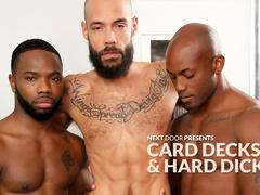 Three guys enjoy hard gay session