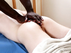 Smooth skinned ginger fucker friend is getting fucked by black masseur