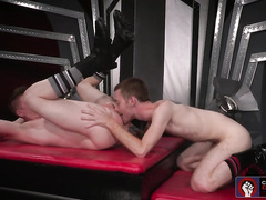 Skinny gay excitingly licks boyfriend's asshole before fucking it
