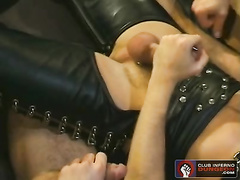 Three twinks in BDSM sex leather belts are pleasuring exciting hot threesome gay fuck