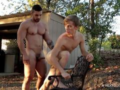 Beauty blonde twink sucks boyfriend's dick in the park