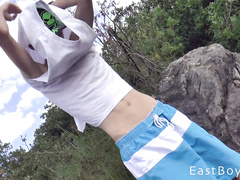 Teen handsome gay dude is taking trip to the nature with hunk friend