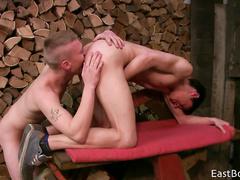 Teen boyfriends got out to the backyard to enjoy hot gay sex