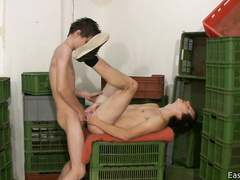 Teen gay friends are having hot gay oral sex in warehouse