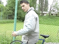 Handsome amateur gay does sports outdoor
