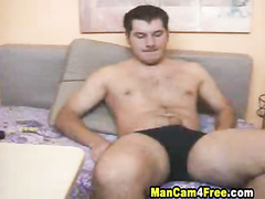 Guy moans when strokes his big fat cock