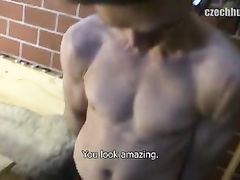 Twink is taking walk with handsome guy and seduces him