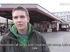 Cutie young guy is earning money for his girlfriend