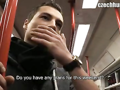 Charming young guy gets seduced to show off dick in the bus